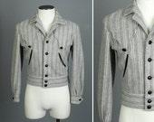 RESERVED vintage H bar C WESTERN jacket • mens 1950s belt back striped ricky jacket