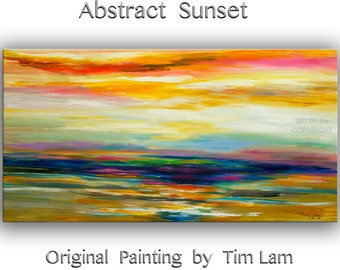 "Passion of Sunset,  art, painting, Wall art, Abstract art, oil painting,  48"" x 24"" canvas art, modern art, unique Landscape art by tim lam"