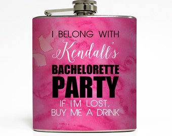 Bachelorette Party Flask Personalized Watercolor Buy Me A Drink Maid of Honor Bridesmaid Gifts Stainless Steel 6 oz Liquor Hip Flask LC-1608