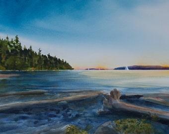West Beach Sunset, Watercolor Giclee Print, Orcas Island, San Juan Islands, Pacific Northwest, beach