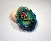 Resin art mermaid scene 3d brooch