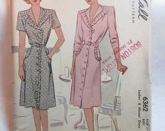 "Antique 1946 McCall Pattern #6362 - size 36"" Bust"