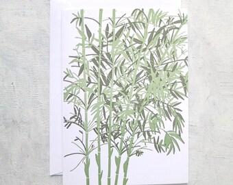 Letterpress Note Card - Bamboo