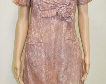 Vintage 50's 60's Pink Lace Wiggle Dress by Form Fit Dress - Size Medium - 8/10