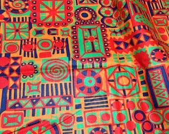 Vintage Mod Fabric Psychedelic Orange Geometric 4 yds