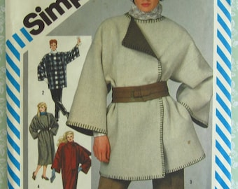 Easy to Sew Misses Unlined Blanket Coat or Jacket, Loose-fitting and Boxy Size Small 10-12 Vintage 1980's Simplicity Pattern 6166 UNCUT