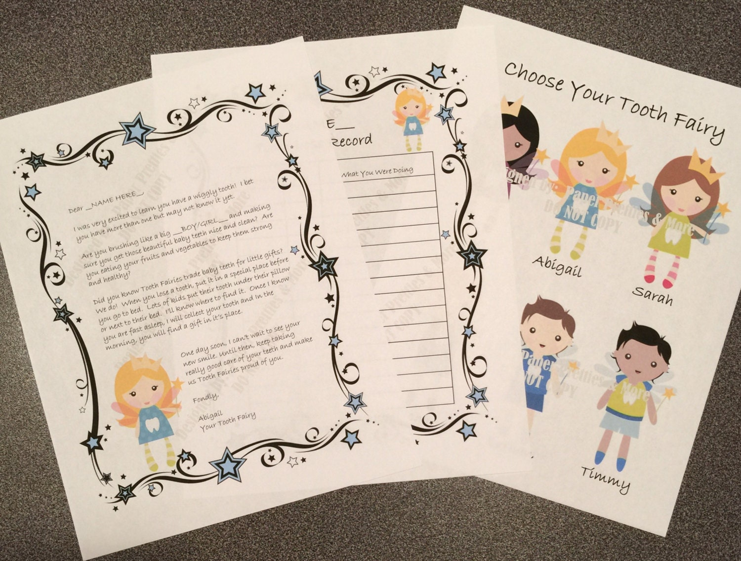 Digital printable personalized tooth fairy letter tooth fairy for Fairy letters