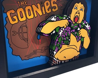 Goonies Poster 3D Art Chunk Truffle Shuffle One Eyed Willy The Goonies Map 3D Pop Art Print