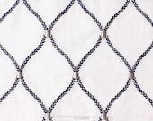 Custom Rod Pocket Panels in Navy Diamond Pattern Sheer Fabric
