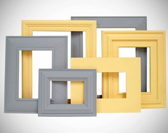 Picture Frame Picture Frame Set Gray and Yellow Wall Decor Yellow and Gray Home Decor Picture Frames Wall Art Frames Modern Nursery Decor