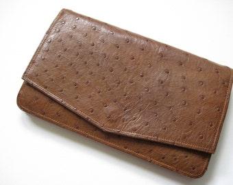 Vintage Genuine Ostrich Clutch Handbag