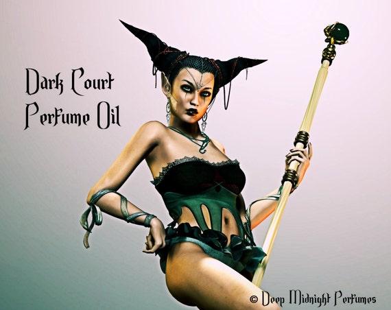 Dark Court Perfume Oil -  Dark Amber, Frangipani, Honeysuckle, Dark Cedarwood, Vetiver, Black Roses, Cardamom, Allspice - Faerie Perfume