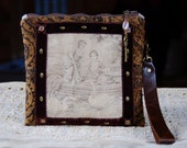 Handmade Zipper Pouch, Wristlet, Velvet Brown Upholstery Fabric, Antique French Tapestry Panel, Leather Strap, Lined, Beaded Zipper Pull