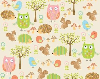 Owl & Co. Cream Friends by RBD Designers for Riley Blake, 1/2 yard