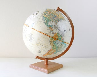 """Vintage Replogle 9"""" World Classic Series Globe with Wood Stand / Made in USA / Item No. 1585"""