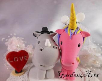 Custom Wedding Cake Topper--Happy Rhino & Unicorn Love with Circle Clear Base