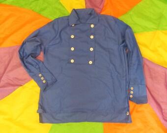 """Men's 17"""" Neck / Large - Monkees style - Blue - 8 button Bib Front Shirt"""