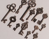 TINY KEYS -- 13 Small Keys, for Steampunk, Jewelry Making, Key Chains, Necklaces, Mixed Media -- All Have Loops on Top for Attaching