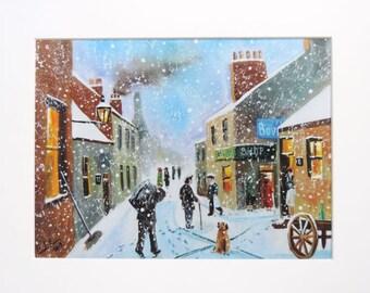 The coal man winter street scene print Gordon Bruce art