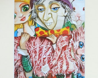 Alice in Wonderland watercolour mounted print with the Mad Hatter & Cheshire cat