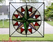 Stained Glass Panel Mariner's Compass Quilt Block