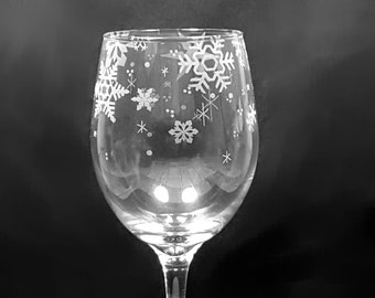 2- 20 Ounce Custom Engraved Snowflake Wine Glasses -Ready to ship