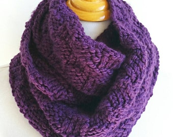 Knit Circle Scarf, Knit Cowl, Knit Neck Warmer, Purple Cowl