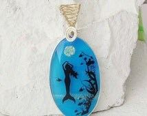 Under the Sea Mermaid Wire Wrapped Art Handmade Glass Jewelry, Fused Glass Pendant Necklace  E186