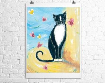 Cat Art- cat with butterflies- fine art print of original painting  12x18