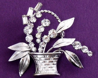 Carl Art Sterling Silver & Rhinestone Flower Basket Pin