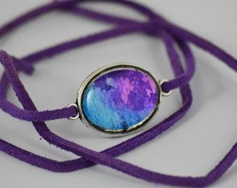 Purple clouds Wrist Wrap, Paper Opal braclet, handmade by Luna Bird,