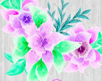 Floral Clipart for Weddings, Cards, Scrapbooking, Purple and Pink Flowers and Fauna, PNG Format with transparent background, Wedding Florals