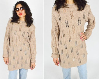 90's TAN Sheer Patterned Sweater. Long Sleeves Slouchy knit. Oversized Sweater. Mod Grunge Minimalist. Cotton Sweater