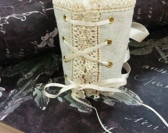 Lace Up Corset Wristlet – Linen and Lace - Ivory