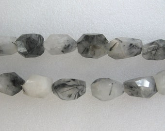 Black Rutilated Quartz Faceted Freeform Nugget Beads 16 Inch Strand