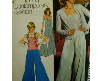 "1970s Evening Wear, Wide Leg Pants, Strapless Knit Top, Open Cardigan, Disco Wear, Simplicity No. 6041 Size 12 (Bust 34"" 87cm)"