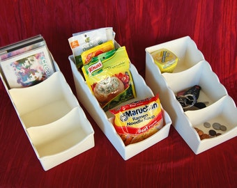 """Choice of 3 Vintage Tupperware """"Place for Packets"""" part number 3495 White Tupperware Packet Organizer, Drawer Organizer, 3-Tiered Tupperware"""