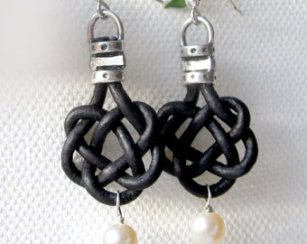 Leather Pearl Celtic Knot Freshwater Pearl Earrings Womens Casual Jewelry Gift Black or Brown