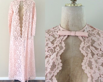 1970's Pink Lace Overcoat Lace Kimono Vintage Jacket Size Small by Maeberry Vintage