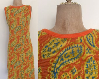 1970's Vibrant Orange, Yellow, & Turquoise Paisley Print Sweater Dress Vintage Dress Size XS Small Medium by Maeberry Vintage