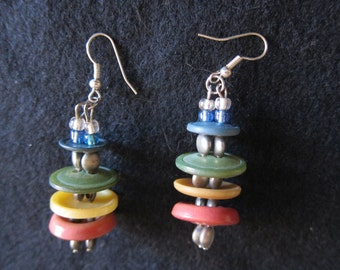 Multi-colored Vintage Button Stacked Earrings