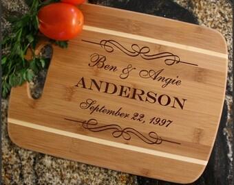 Personalized Cutting Board, Cheese Board, Custom Engraved Bamboo Cutting Board, Wedding Gifts, Anniversary, Housewarming Gift-Thin Stripe D9
