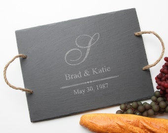 Personalized Cheese Board, Custom Engraved Slate, Monogram, Personalized Serving Tray, Personalized Wedding Gift, Housewarming Gift D11
