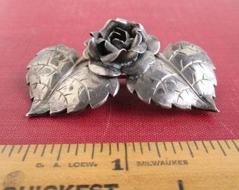 Sterling Silver 3D Rose & Leaf Pin - Vintage