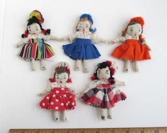 5 Miniature Dolls - Vintage Handmade, Unique