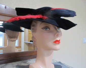 VINTAGE Eye-Catching Navy & Red Large Brim Wide Brim-Evening-Portrait Hat with Feathers