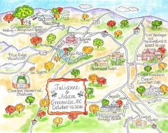 Custom Wedding Map, Watercolor Map, Hand drawn Map