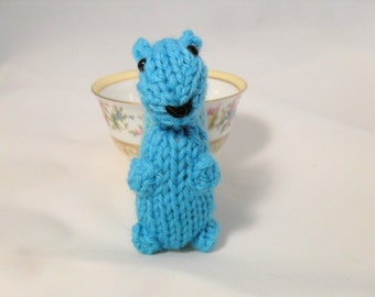Hand Knit Squirrel. Turquoise Blue Squirrel. Squirrel Stuffie. Woodland Plushie. Pretend Play. Pocket Pal. Ready To Ship. Gifts Under 10