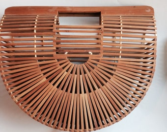 vintage bamboo slat handbag semi circle design