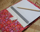 Large Kaffe Fassett Paperweight print fabric covered notebook - A5 removable fabric cover.